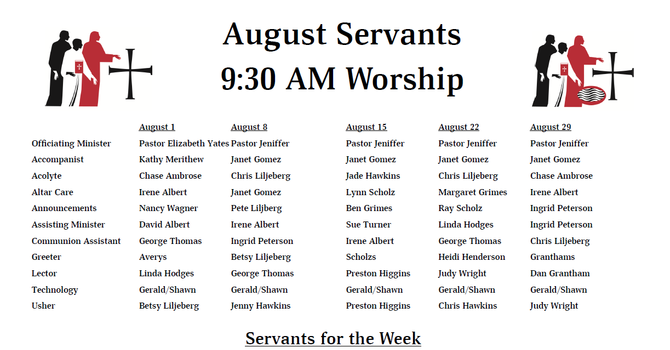 August 2021 - Servants List image