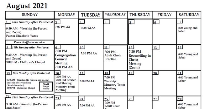 Apostles Calendar - August 2021 image