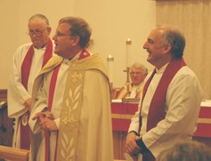 Welcome of the archdeacon with regional dean present and bishop in back