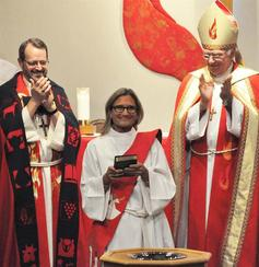 The community welcomes the newly ordained melanie