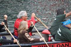 Murray sinclair and marie wilson in the canoe