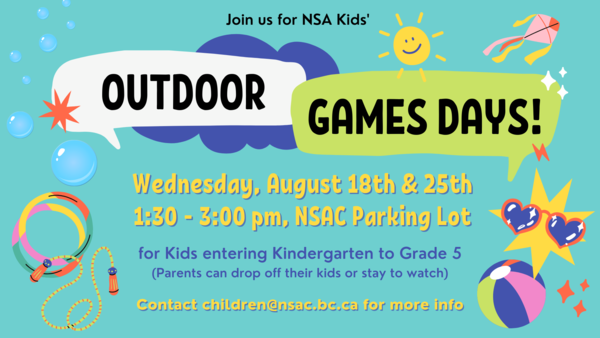 Outdoor Games Days - August 25th