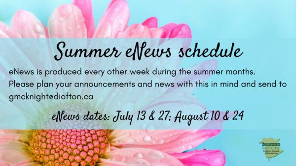 eNews summer schedule