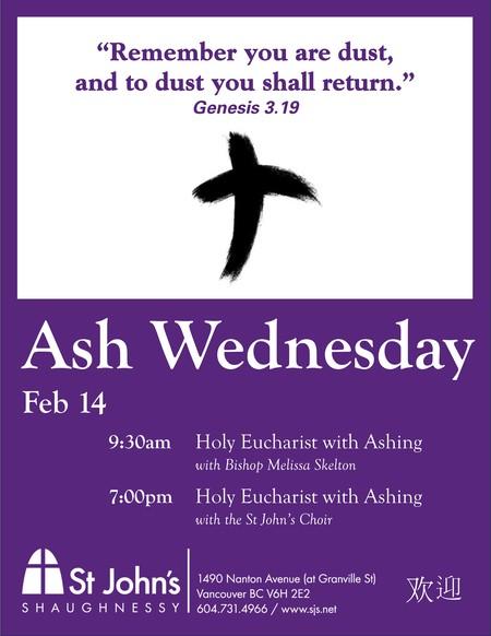 Ash Wednesday 9:30 am