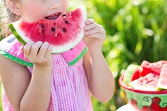 Watermelon summer little girl eating watermelon food