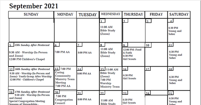 Apostles Calendar - September 2021 image