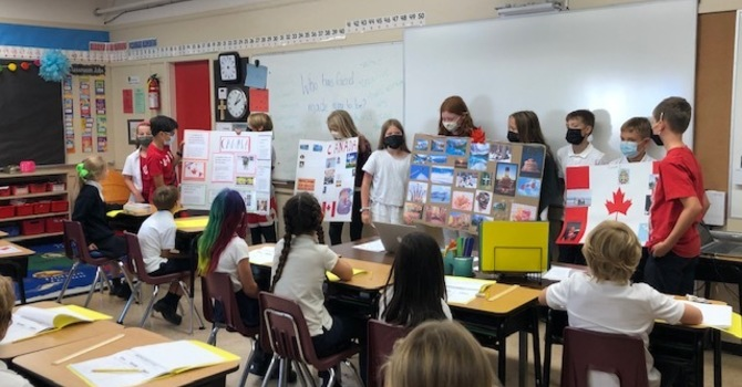 Gr. 5/6 class has Canada Day in September image