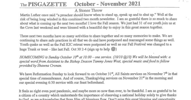 October/November Newsletter image