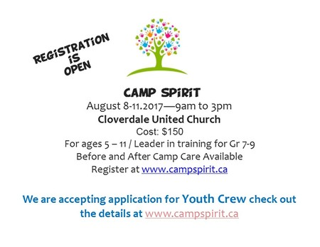 Camp Spirit Registration is Open!