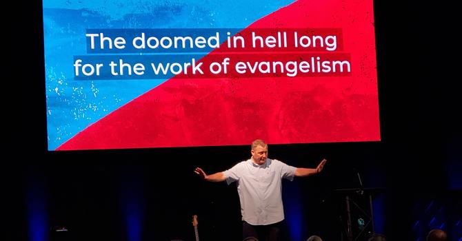 The doomed in hell long for the work of evangelism image