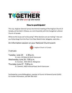 Joint assembly info sessions with archdeacon lynne mcnaughton