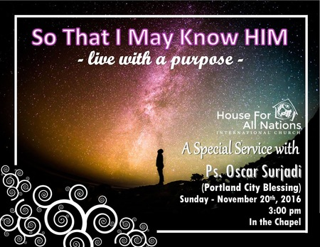 Live with a Purpose: So I May Know Him