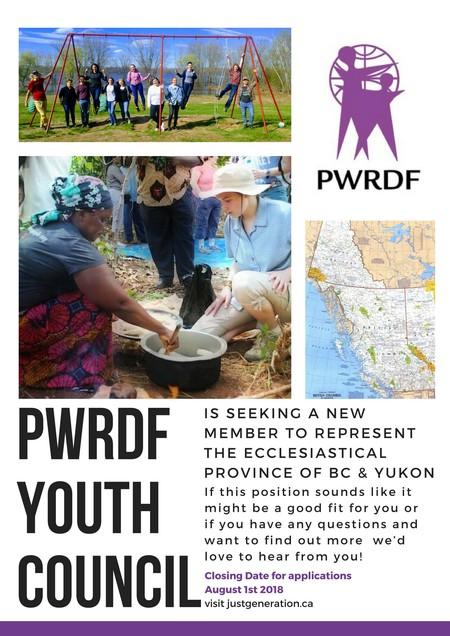PWRDF Seeks Youth Rep For BC/Yukon