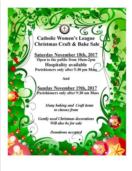 CWL Christmas Bake and Craft Sale